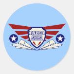 Paper Aeroplane Flight School Round Sticker