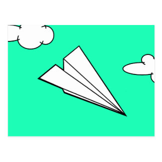 Paper Airplane in the Sky Postcard