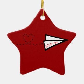 Paper Airplane Love Letter Ceramic Star Decoration