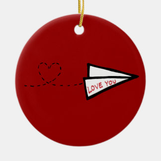 Paper Airplane Love Letter Christmas Ornament