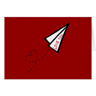Paper Airplane Love Letter Valentine's Day Greeting Card