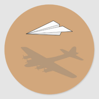 Paper Airplane Overactive Imagination Round Sticker