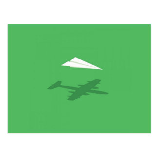 Paper Airplane Shadow Dream Postcard