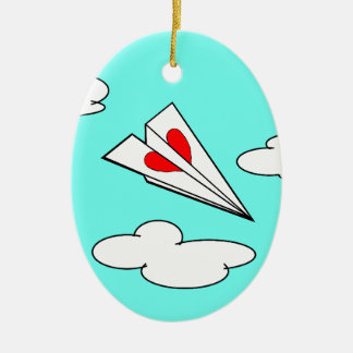 Paper Airplane with Heart Christmas Ornaments