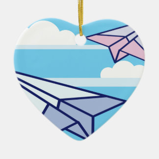 Paper Airplanes in the sky Ceramic Heart Decoration