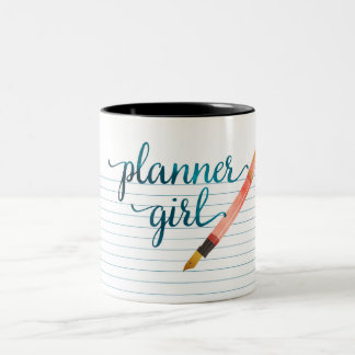 Paper and Pen Watercolor Planner Girl Two-Tone Coffee Mug