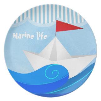 Paper Boat melamine plate