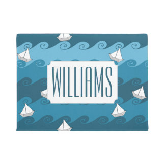 Paper Boats Pattern | Add Your Name Doormat