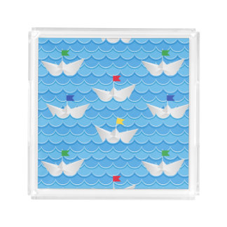 Paper Boats Sailing On Blue Pattern Acrylic Tray