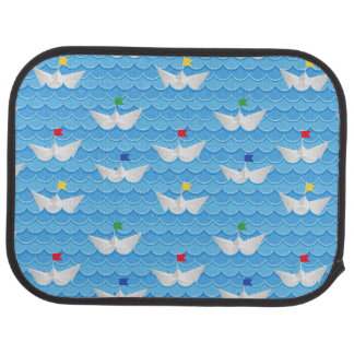 Paper Boats Sailing On Blue Pattern Car Mat