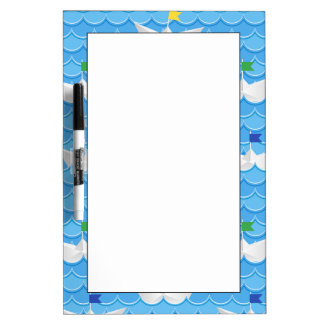 Paper Boats Sailing On Blue Pattern Dry-Erase Board