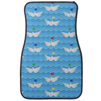 Paper Boats Sailing On Blue Pattern Floor Mat