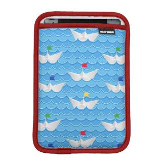 Paper Boats Sailing On Blue Pattern iPad Mini Sleeve