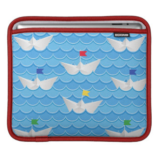 Paper Boats Sailing On Blue Pattern iPad Sleeve