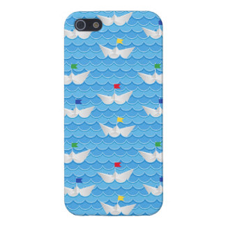 Paper Boats Sailing On Blue Pattern iPhone 5 Covers