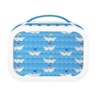 Paper Boats Sailing On Blue Pattern Lunch Box