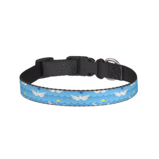 Paper Boats Sailing On Blue Pattern Pet Collar