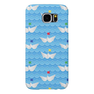 Paper Boats Sailing On Blue Pattern Samsung Galaxy S6 Cases