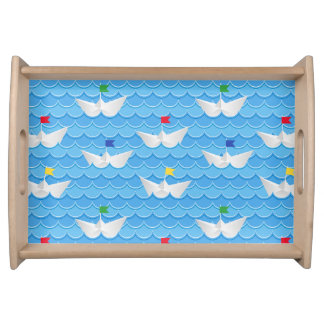 Paper Boats Sailing On Blue Pattern Serving Tray