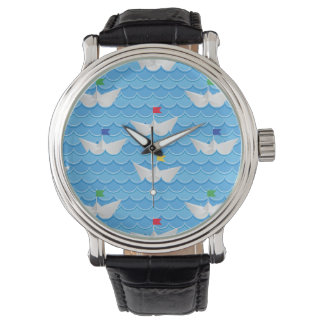 Paper Boats Sailing On Blue Pattern Watch