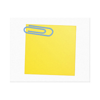 Paper Clip and Note Stretched Canvas Print