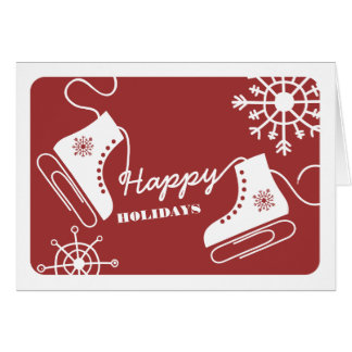Paper Clip Ice Skates Business Christmas Card Red