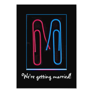 paper clips couple 13 cm x 18 cm invitation card