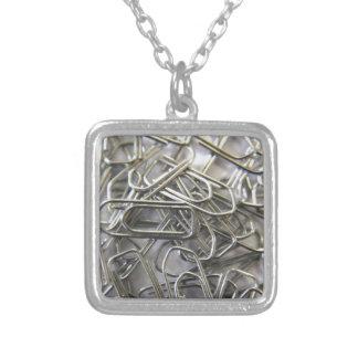 Paper clips square pendant necklace