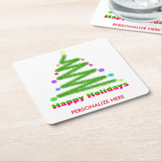 PAPER COASTERS - HAPPY HOLIDAYS CHRISTMAS TREE ART