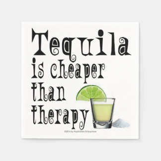 PAPER COCKTAIL NAPKINS, TEQUILA CHEAPER THERAPY PAPER NAPKIN