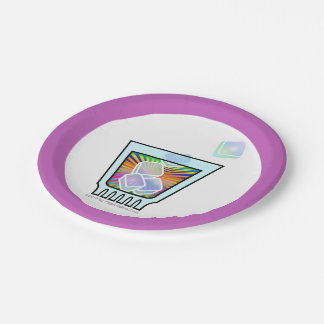 PAPER COCKTAIL PLATES - PSYCHEDELIC COCKTAIL GLASS 7 INCH PAPER PLATE