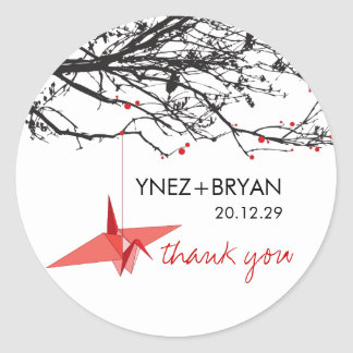 Paper Crane + Tree Thank You Wedding Sticker