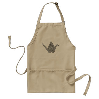 Paper crane with black hearts and flowers pattern adult apron