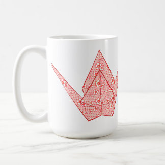Paper crane with red hearts and flower pattern coffee mug
