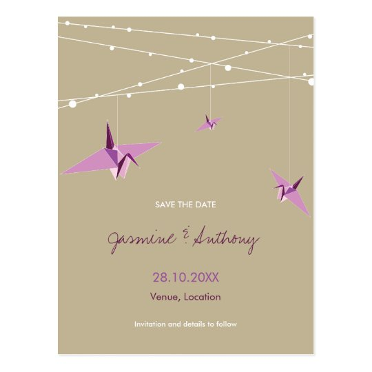 Paper Cranes Fairy Lights Wedding Save The Date