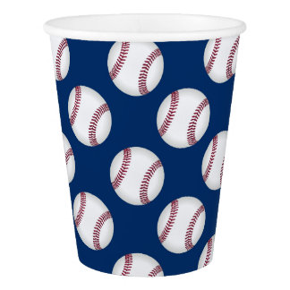 Paper Cup with baseballs on a blue background