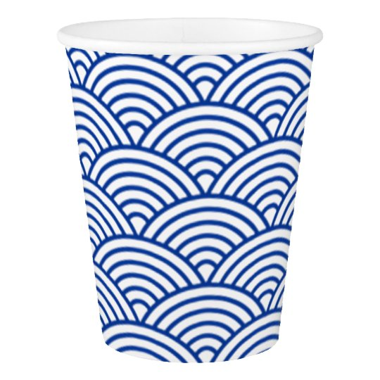Paper Cup with blue and white concentric circles