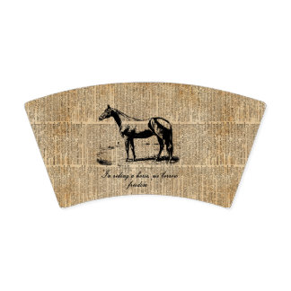 Paper Cup with Horse Over Vintage Dictionary Page