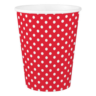 Paper Cup with white dots on a red background
