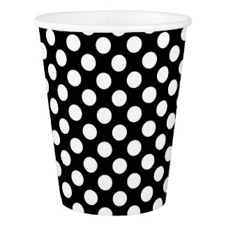 Paper Cup with white polka dots on black