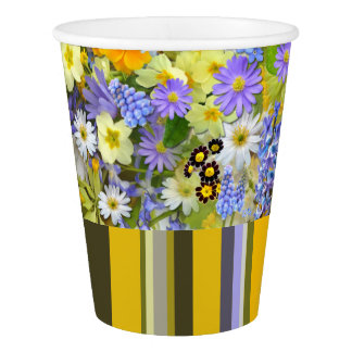 PAPER CUPS Florals And Stripes