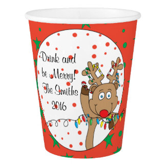 "Paper Cups ""Rudolph the Happy Reindeer""  9 oz."