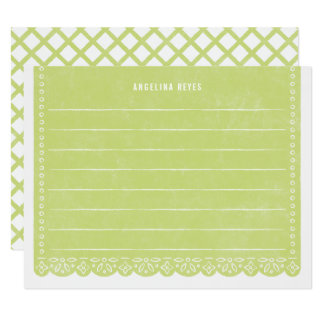 Paper Cut Banner Stationery - Key Lime Card