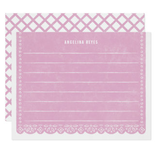 Paper Cut Banner Stationery - Lilac Card