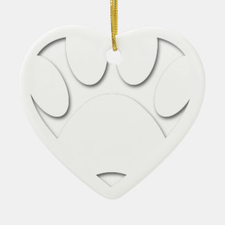 Paper Cut Dog Paw And Heart Shape Ceramic Heart Decoration