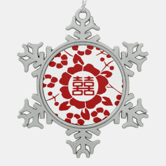 Paper Cut Flowers • Double Happiness • White Snowflake Pewter Christmas Ornament