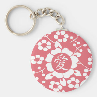 Paper Cut Flowers • Lovely Pink Basic Round Button Key Ring