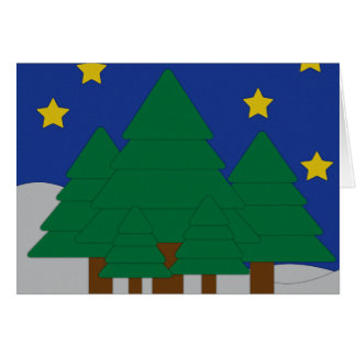 Paper Cut Out Trees and Snow Holiday Card