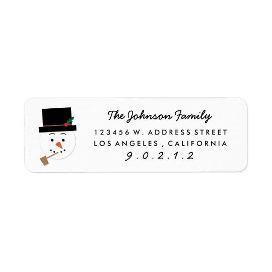 Paper Cut Snowman Illustration Address  Sticker