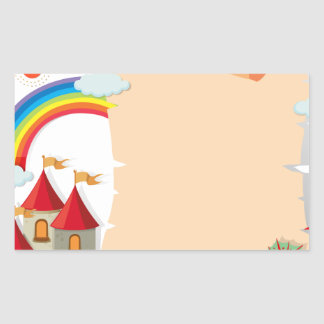 Paper design with dragon and castle rectangular sticker